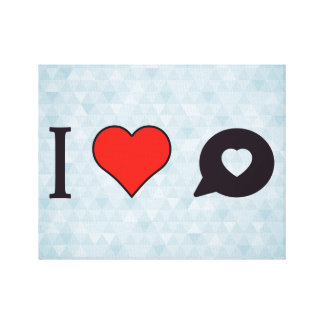 I Heart Love Messages Stretched Canvas Print