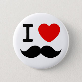 I heart / Love Moustaches / Mustaches 6 Cm Round Badge