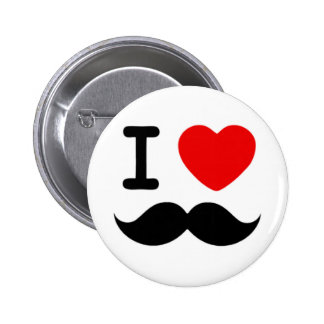 I heart / Love Moustaches / Mustaches Pinback Button