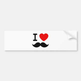I heart / Love Moustaches / Mustaches Bumper Sticker