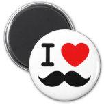 I heart / Love Moustaches / Mustaches Fridge Magnets