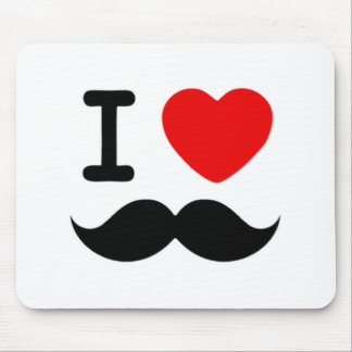 I heart / Love Moustaches / Mustaches Mouse Pad