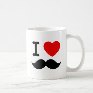 I heart / Love Moustaches / Mustaches Basic White Mug