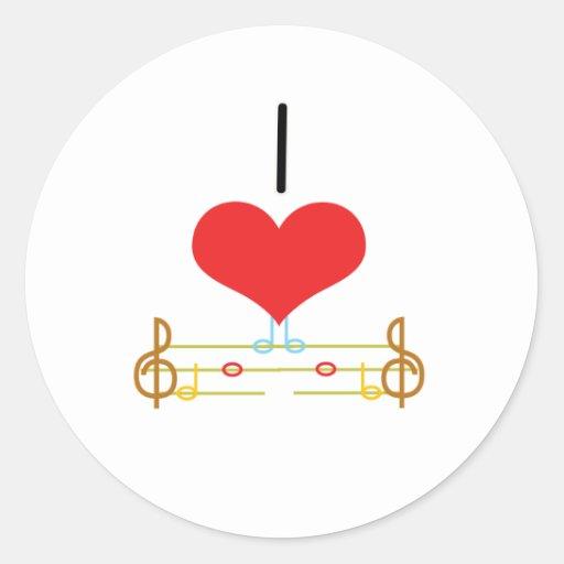 I Heart (Love) Music Notes Round Sticker