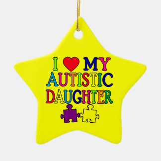 I Heart (Love) My Autistic Daughter Christmas Ornament