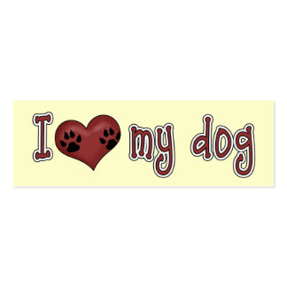 I Heart Love my dog Dog Lover's Bookmark Pack Of Skinny Business Cards
