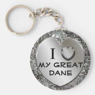 I Heart (Love) My Great Dane Keychain