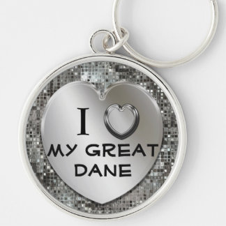 I Heart (Love) My Great Dane Premium Keychain