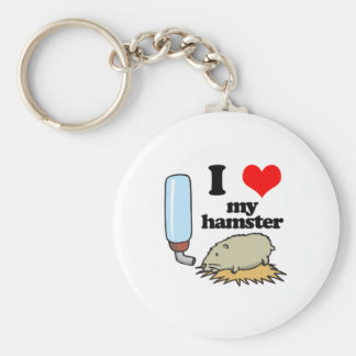 I Heart (Love) My Hamster Basic Round Button Key Ring
