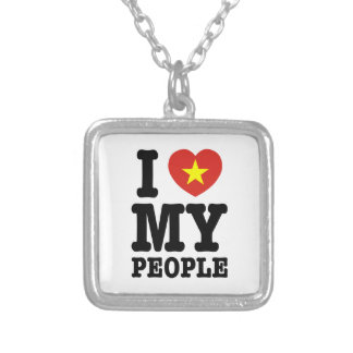 I Heart (Love) My Viet People Silver Plated Necklace