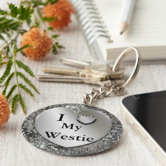 I Heart (Love) My Westie Keychain