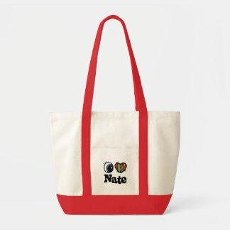 I Heart (Love) Nate Tote Bags