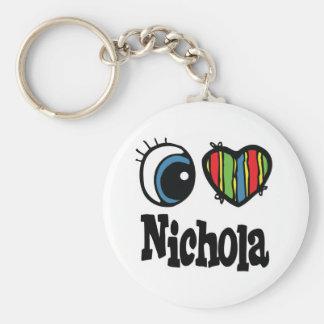 I Heart (Love) Nichola Basic Round Button Key Ring