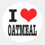 I HEART (LOVE) OATMEAL ROUND STICKER