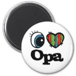 I Heart (Love) Opa 6 Cm Round Magnet