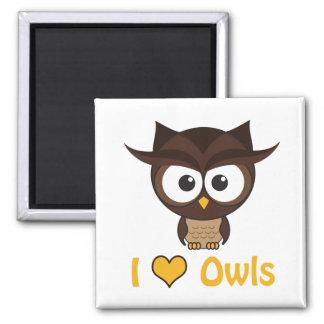 I heart (love) owls fridge magnets