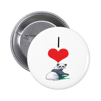 I Heart Love Panda Bears Pins