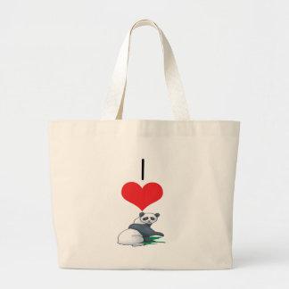 I Heart (Love) Panda Bears Canvas Bag