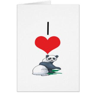 I Heart Love Panda Bears Greeting Card
