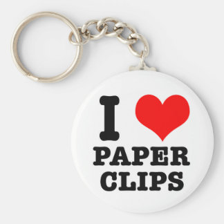 I HEART (LOVE) paper clips Basic Round Button Key Ring