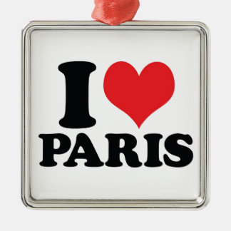 I Heart / love Paris Silver-Colored Square Decoration