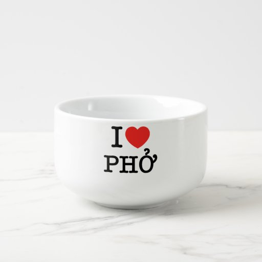 I Heart (Love) Pho Soup Bowl With Handle