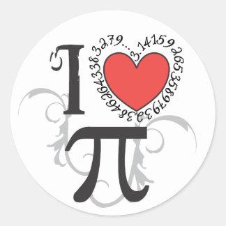 I Heart (LoVe) Pi Round Sticker