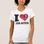 I Heart Love Pirates Shirt. Vintage Retro Graphic.