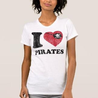 I Heart Love Pirates Shirt. Vintage Retro Graphic. T Shirts