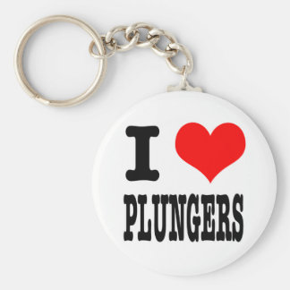 I HEART (LOVE) PLUNGERS BASIC ROUND BUTTON KEY RING