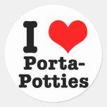 I HEART (LOVE) porta potties Round Stickers