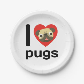 I heart (love) pugs 7 inch paper plate