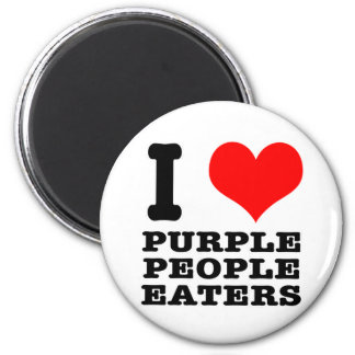 I HEART (LOVE) PURPLE PEOPLE EATER 6 CM ROUND MAGNET