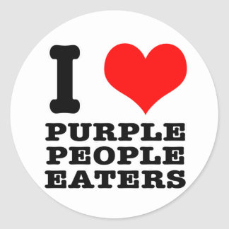 I HEART (LOVE) PURPLE PEOPLE EATER ROUND STICKER
