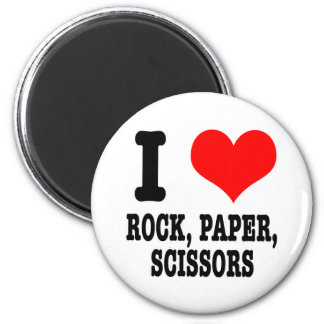 I HEART (LOVE) ROCK PAPER SCISSORS 6 CM ROUND MAGNET