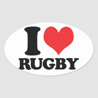 I Heart / love Rugby Oval Sticker