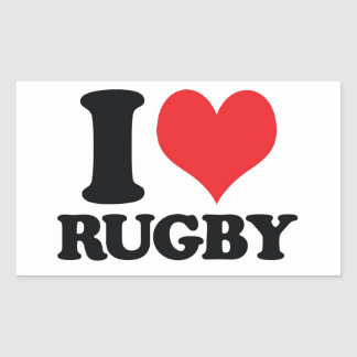 I Heart / love Rugby Rectangular Sticker