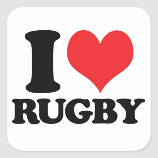 I Heart / love Rugby Square Sticker