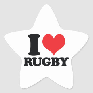 I Heart / love Rugby Star Sticker