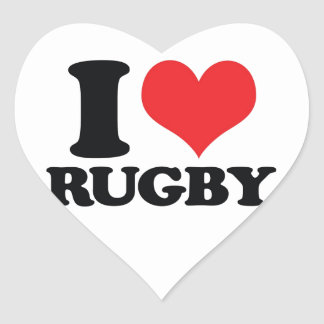 I Heart love Rugby Heart Stickers
