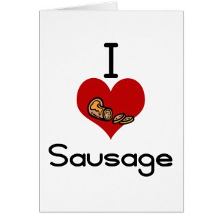 I heart-love sausage card