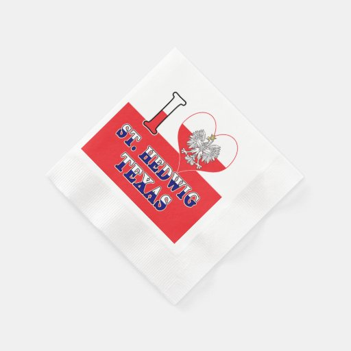 I Heart Love St. Hedwig Texas Disposable Napkin
