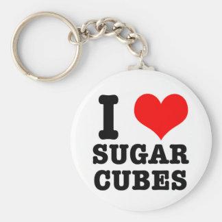 I HEART (LOVE) SUGAR CUBES BASIC ROUND BUTTON KEY RING