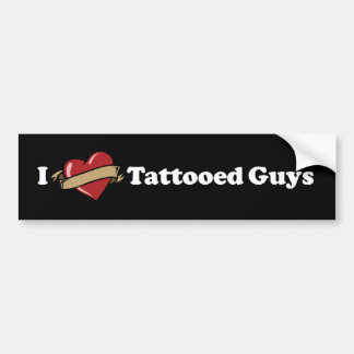 I Heart (Love) Tattooed Guys Black Bumper Sticker