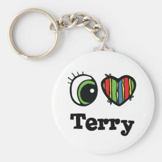 I Heart (Love) Terry Basic Round Button Key Ring
