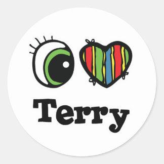 I Heart (Love) Terry Round Sticker