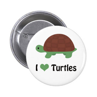 I heart (love) turtles 6 cm round badge