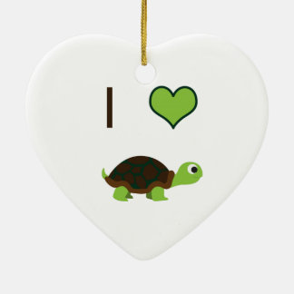 I heart (love) Turtles Ceramic Heart Decoration
