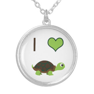 I heart (love) Turtles Silver Plated Necklace