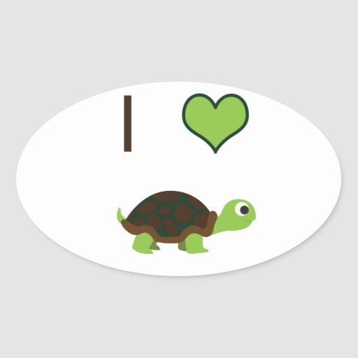 I heart (love) Turtles Oval Stickers